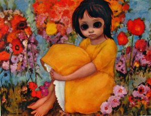 Margaret Keane Big Eyed Art postcard - In the Garden.